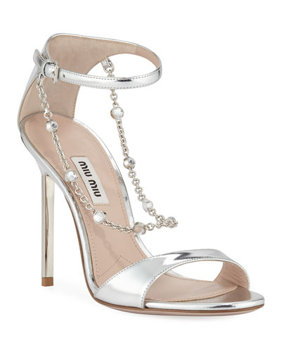 Metallic Sandals with Jeweled Chain
