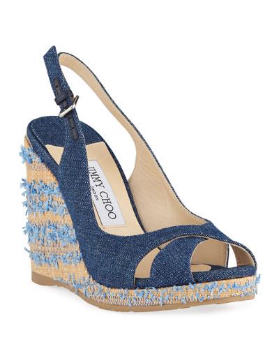 Amely Denim Slingback Wedge Sandals
