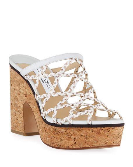 Jimmy Choo Dalina Leather Cork Platform Mules