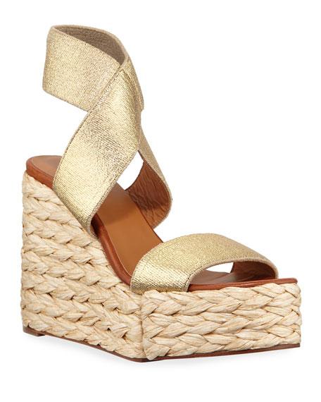 Clergerie Paris Aurore Wedge Metallic Sandals
