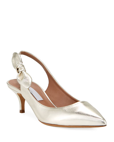 Rise Metallic Leather Slingback Pumps