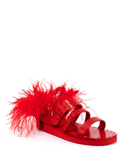Buckle and Feather Slide Sandals