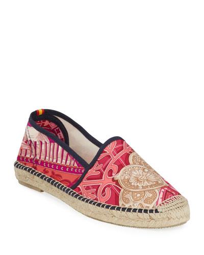 Isadora Hermes Flat Silk Espadrilles