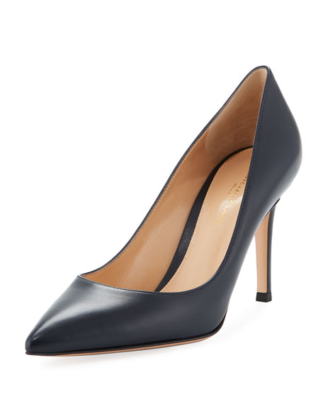 85mm Leather Point-Toe Pumps