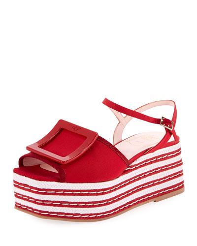 Grosgrain Buckle Platform Sandals