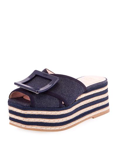 Denim Buckle Platform Sandals