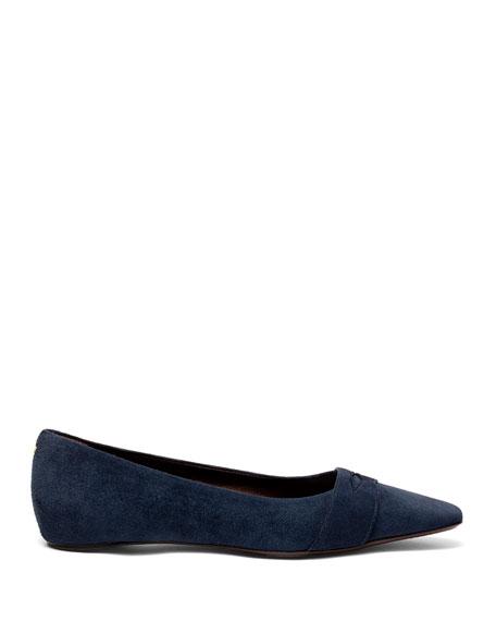 Suede Keeper Ballet Flats, Dark Blue