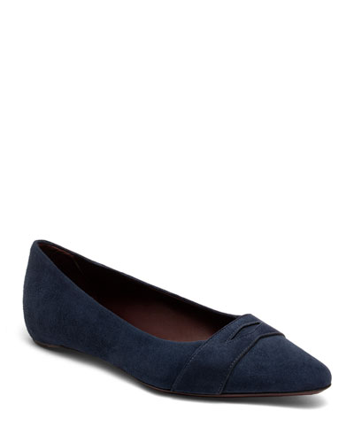 Suede Keeper Ballet Flats  Dark Blue