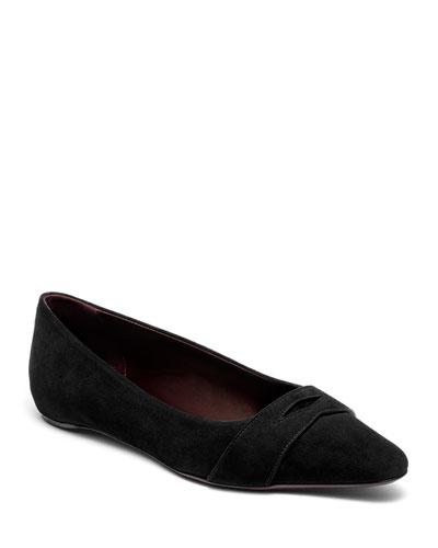 Suede Keeper Ballet Flats  Black