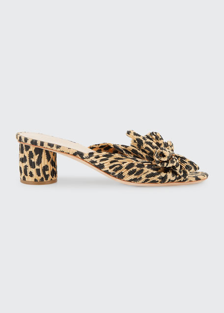 Emilia Pleated Leopard-Print Knot Slide Sandals