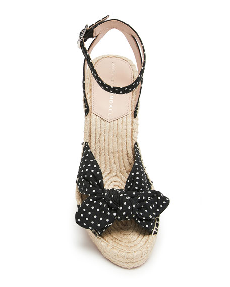 Tessa 80mm Dot Bow Wedge Espadrilles