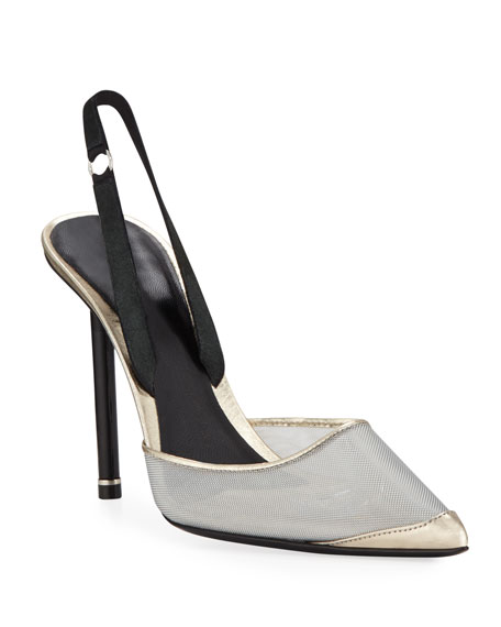 Alexander Wang Alix Metallic Mesh And Leather Slingback Pumps In Silver