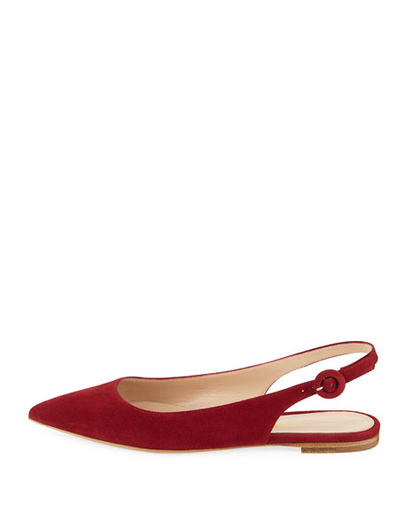 Suede Pointed-Toe Slingback Flats