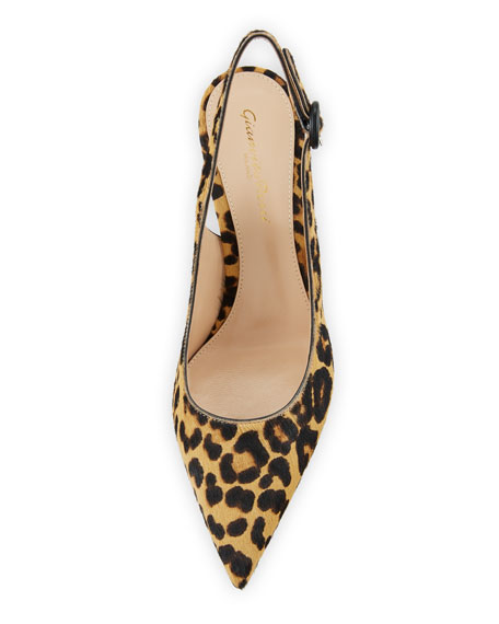 Leopard-Print Calf Hair Slingback Pumps