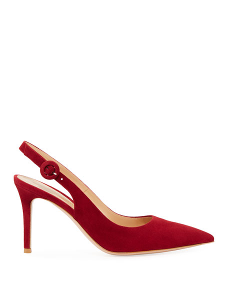Suede Pointed-Toe Slingback Pumps