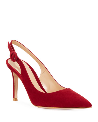 10a9abeb0e5e7a Suede Pointed-Toe Slingback Pumps Quick Look. Gianvito Rossi