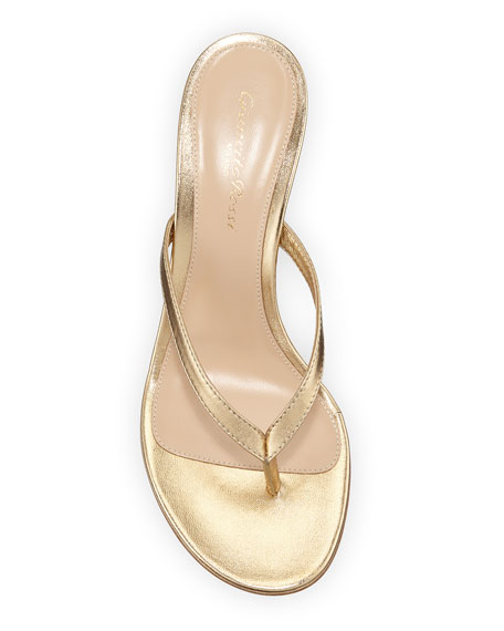 Metallic Leather Mid-Heel Thong Sandals