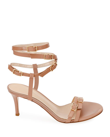 Strappy Buckle Leather Sandals