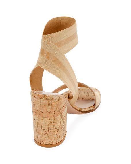 Stretch-Strap Cork Sandals
