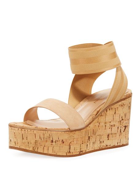Elastic Strap Cork Wedge Sandals