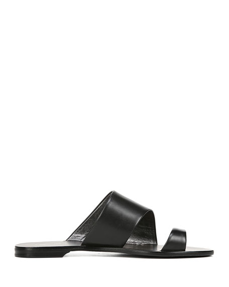 Brittany Leather Flat Slide Sandals