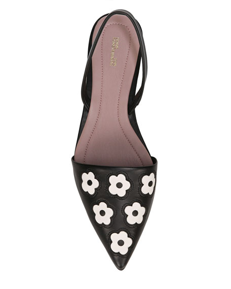 Koko Floral Leather Slingback Flats