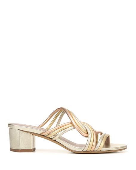 Jada Metallic Leather Slide Sandals