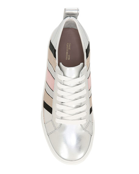 Tess Striped Metallic Leather Sneakers