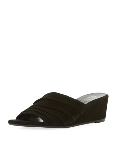 Kristina Suede Ruched Wedge Sandals