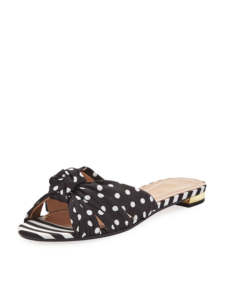x Racil Menorca Mixed-Print Flat Slide Sandals