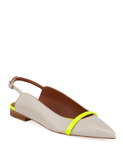 Marion Luwolt Napa Slingback Flats with Neon Detail
