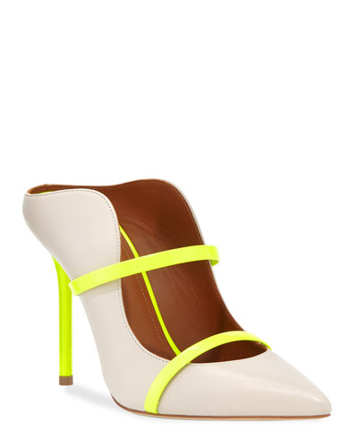 Maureen Luwolt High-Heel Leather Mules with Neon Detail