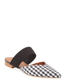 Maisie Luwolt Flat Gingham Mules by Malone Souliers