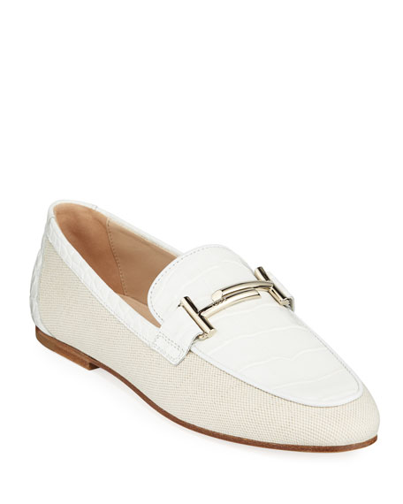 3f0fdbca599 Tod s Double T Canvas and Leather Loafers