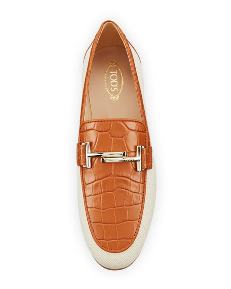 Croc-Embossed Leather Double-T Loafer