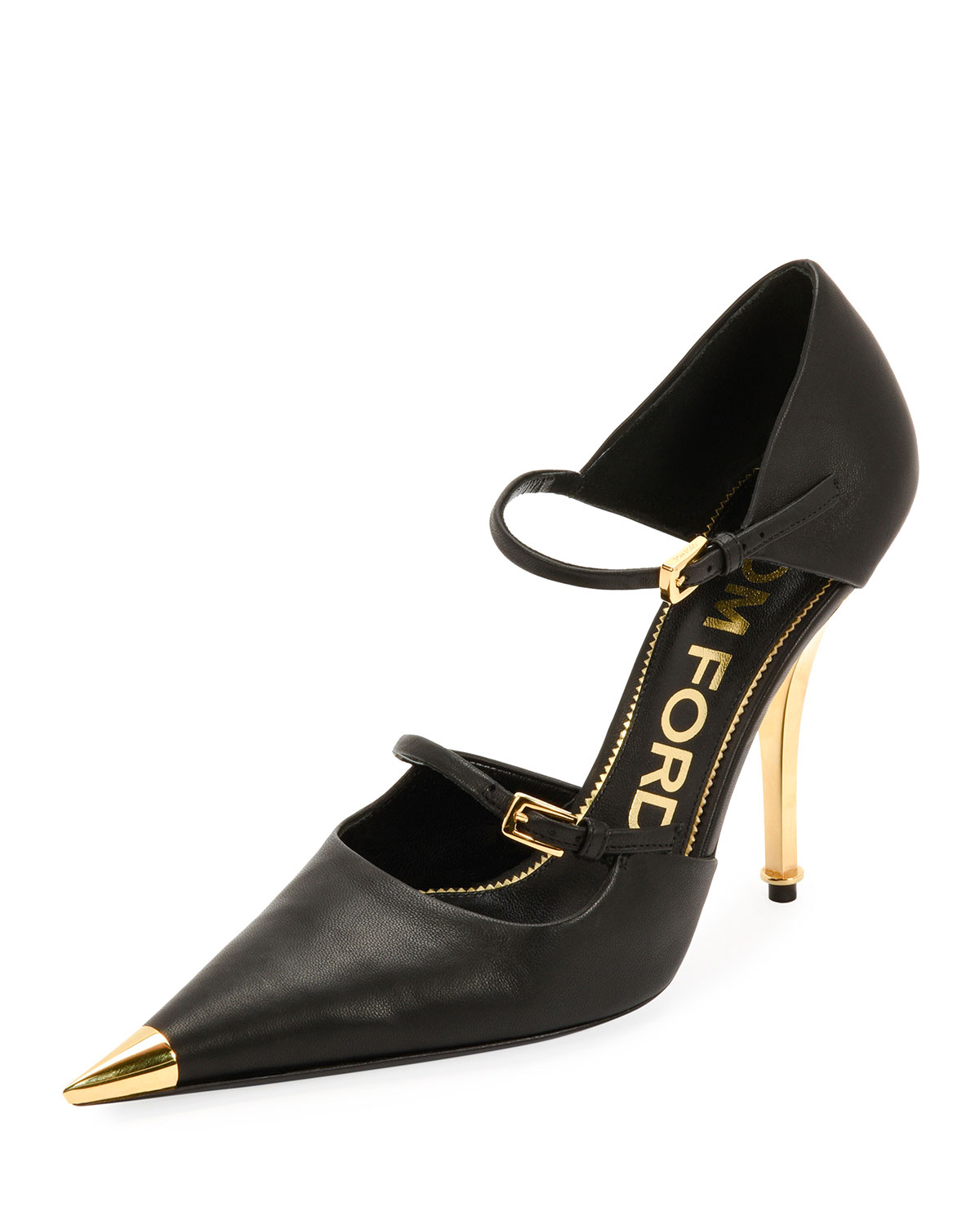 classcic Discover new appearance Two-Strap Mary Jane Pumps with Pointed Metal Toe