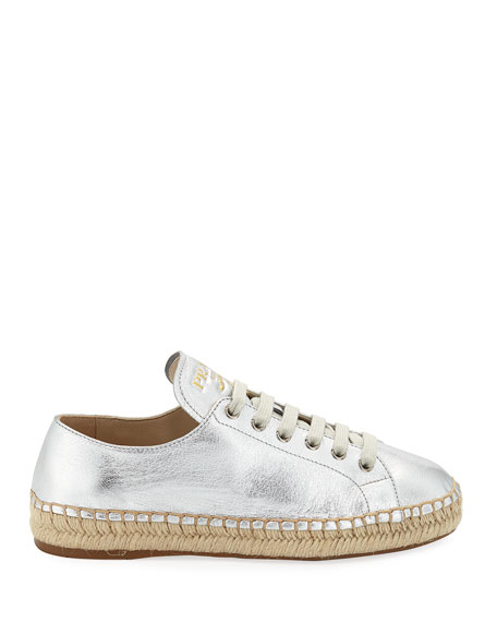 Metallic Leather Espadrille Sneakers