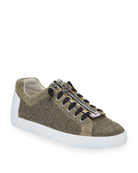 Nirvana Metallic Knit Zipper Sneakers, Gold