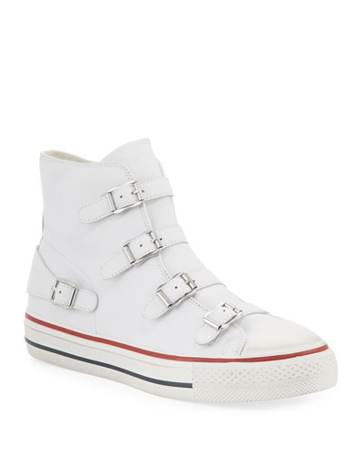 Virgin Buckle High-Top Leather Sneakers