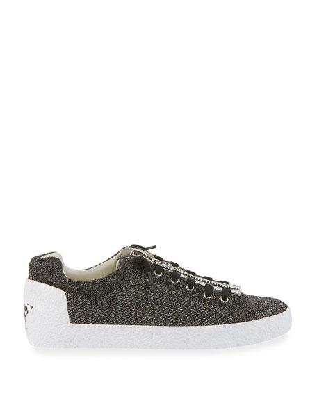 Nirvana Metallic Knit Zipper Sneakers, Black