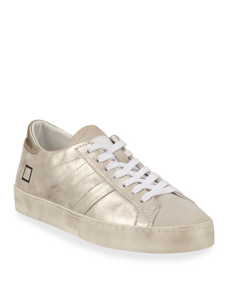 Hill Low-Top Metallic Leather Sneakers