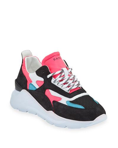 Fuga Mixed-Media Suede Platform Sneakers