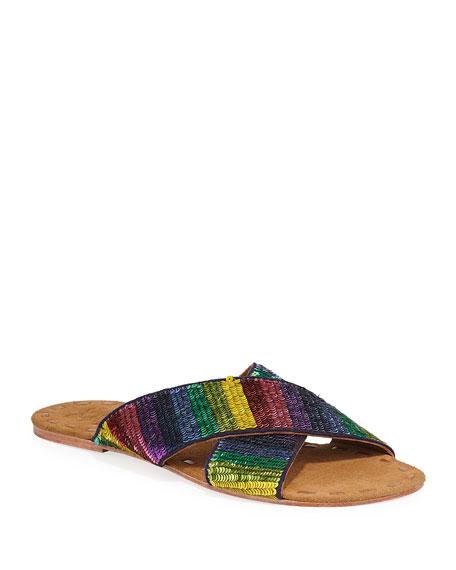 Nilu Sequined Leather Slide Sandals