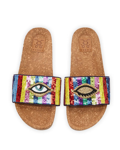 Noona Sequined Cork Slide Sandals