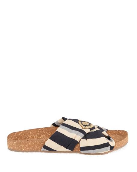 Suki Beaded Silk Slide Sandals