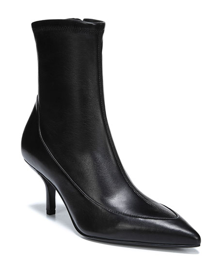 Morgan Leather Pointed Booties