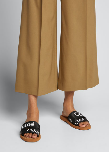 5e9c3bdcdd Woody Flat Logo Ribbon Slide Sandals