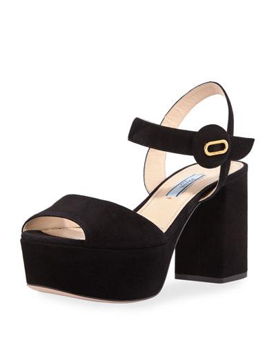 7756aa33f2eb Prada Quarter-Strap Platform Sandals