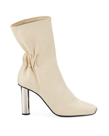 Ruched Leather Mirror-Heel Boots