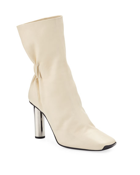 Proenza Schouler Ruched Leather Mirror-Heel Boots